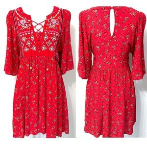 WONDERLY Red Boho Moroccan Embroidery Dress XS